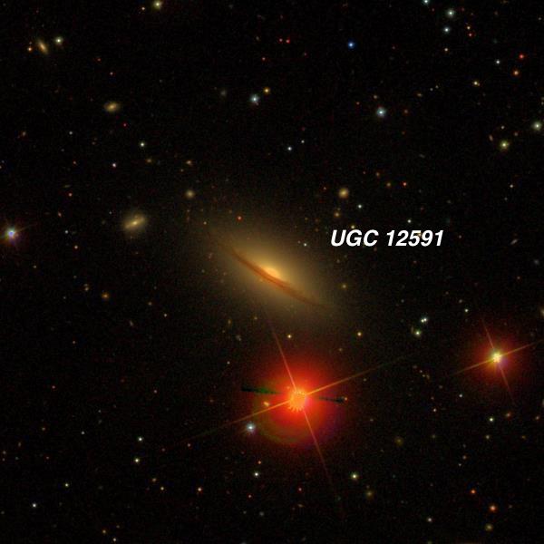 UGC 12591 23 25 21.9 +28 29 40. V = 12.9; Size 1.7'x0.7'; Surf Br = 13.0;  PA = 58°